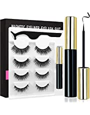 Magnetic Eyeliner with Magnetic Eyelashes Kit, Waterproof Smooth Liquid Eyeliner and Multi Styles Ultra-thin 3D Reusable Magnets False Lashes with Applicator for Party Dating Wedding (L5)