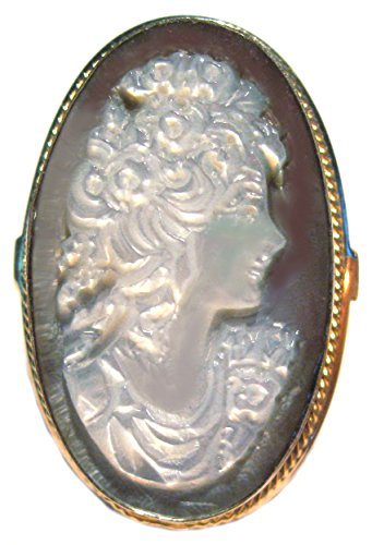 Cameo Ring Master Carved Summer Dream Mother of Pearl Size 7.5 Sterling Silver Italian by cameosRus