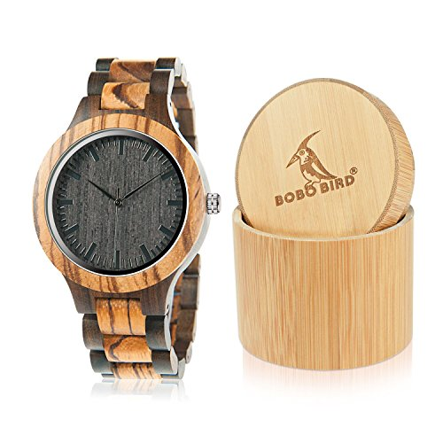 BOBO BIRD D30 Mens Bamboo Wooden Watch Analog Quartz Black Handmade Casual Watches