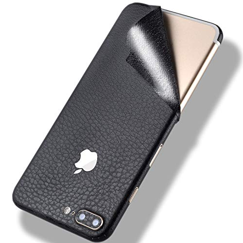 iPhone 7 Leather Skin Wrap Sticker,Tectom Full Edge Protective Decal for iPhone 7plus Back Case (Black, for iPhone ()