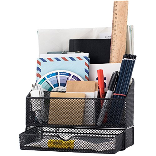 Equippt Desk Organizer Caddy with Draw, Letter Holder & Mail Organizer for Offices out of Black Steel Mesh by Equippt (Image #7)