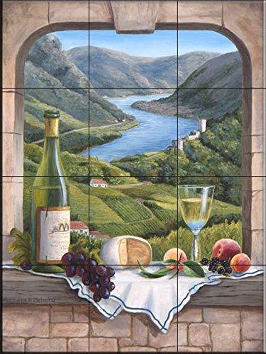 Rhine Wine (Ceramic Tile Mural - Rhine Wine Moment - by Barbara Felisky - Kitchen backsplash / Bathroom shower)