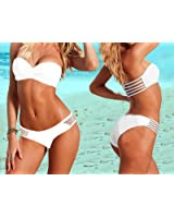 D3bee 2PCS New Sexy Women strapless Twist Bandeau Padded Bra Low Rise Bikini Swimwear White