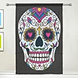 WOZO Mexican Sugar Skull Window Sheer Curtain Panels 55''x 84'', 1-Piece Skull Floral Modern Window Treatment Panel for Children Kids Home Living Dining Room Playroom Decoration