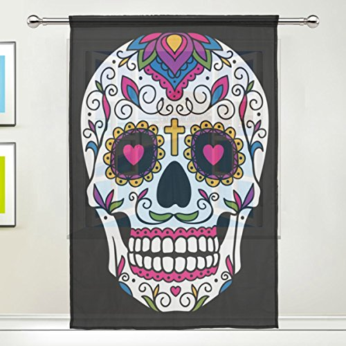 WOZO Mexican Sugar Skull Window Sheer Curtain Panels 55''x 84'', 1-Piece Skull Floral Modern Window Treatment Panel for Children Kids Home Living Dining Room Playroom Decoration by WOZO