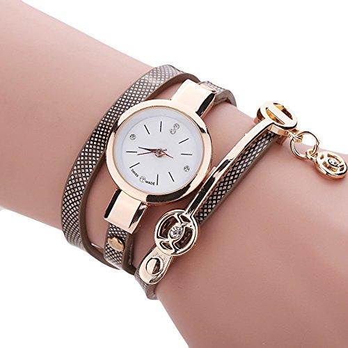 Damen Retro Vintage PU Armbanduhr Luxus Armband Quarzuhren (Brown)