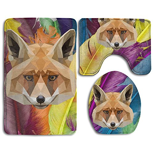 Cool Polygon Fox Animal Skidproof Toilet Seat Cover Bath Mat Lid Cover by Bralla