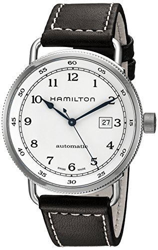 Hamilton Men's H77715553 Khaki Navy Stainless Steel Watch with Brown Band by Hamilton