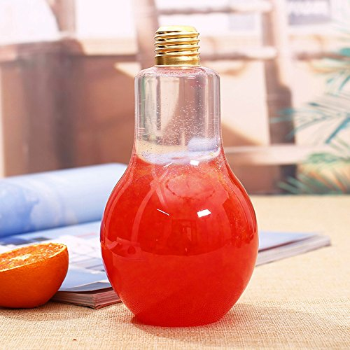 Creative Clear Plastic Light Bulb Juice Water Beverage Bottle Drink Cup without Drinking Straw