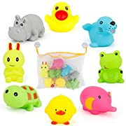 SONiKi 8PCS Bath Toys with Toy Organizer Bag by 8 Colorful Animals+ 2 PCS of Lock Tight Suction Hooks Funny Bathtime in Bathtub Pool or Bathroom For Baby Toddler Boys Girls