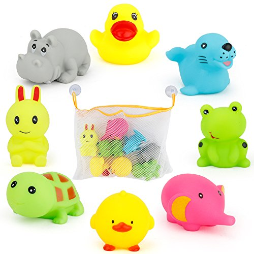 Sotodik 8PCS Bath Toys with Toy Organizer Bag by 8 Colorful Animals+ 2 PCS of Lock Tight Suction Hooks Funny Bathtime in Bathtub Pool or Bathroom For Baby Toddler Boys Girls
