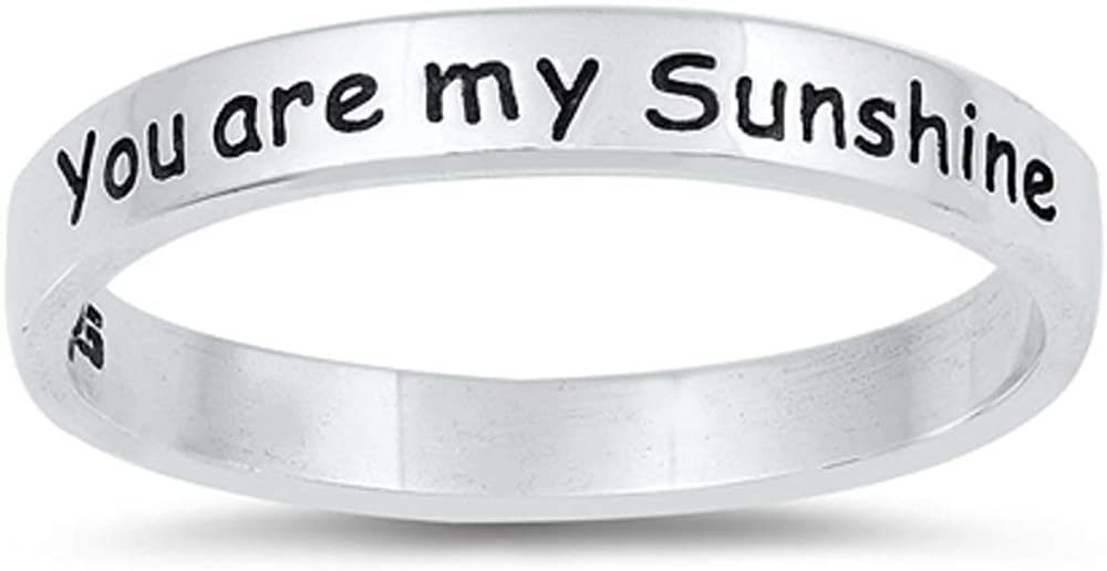 CloseoutWarehouse Oxidized Sterling Silver You are My Sunshine Band Ring