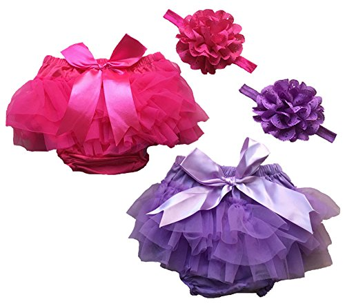 Toptim Baby Girl's Bloomer + Headband Toddler Ruffled Pants Diaper Cover 2 Sets S Diaper Cover Ruffled Bloomer