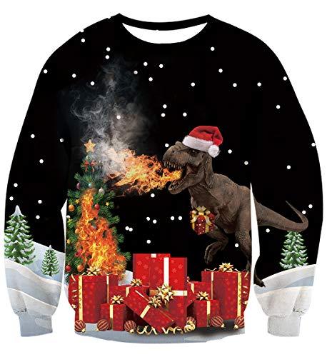 (Fanient Ugly Christmas for Men Teen Boys 3D Pullover Sweatshirt Funny 3D Dinosaur Printed Xmas Gift Long Sleeve)