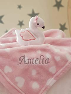 Personalised SWAN Baby Girl Comforter Blanket / Soother Blanket / Baby Gift / Baby Shower