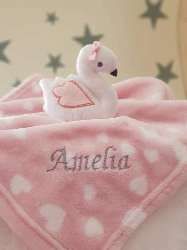 Personalised SWAN Baby Girl Comforter Blanket / Soother Blanket / Baby Gift / Baby Shower