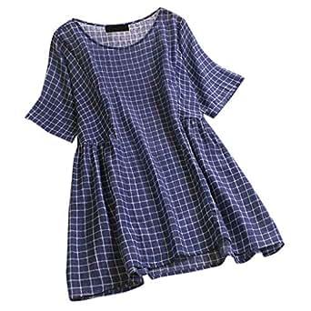 DressLksnf Camiseta de Algodón y Lino para Mujer Tartan ...