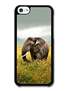 AMAF ? Accessories Elephant Walking Through Yellow Flowers case for iPhone 5C wangjiang maoyi by lolosakes