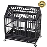 Cheap QAQA 36″ Heavy Duty Dog Cage–Strong Folding Metal Crate Kennel and Playpen for Medium and Large Dogs with Double Door, Two Lock, Tray and Rolling Wheels (Roof Style)