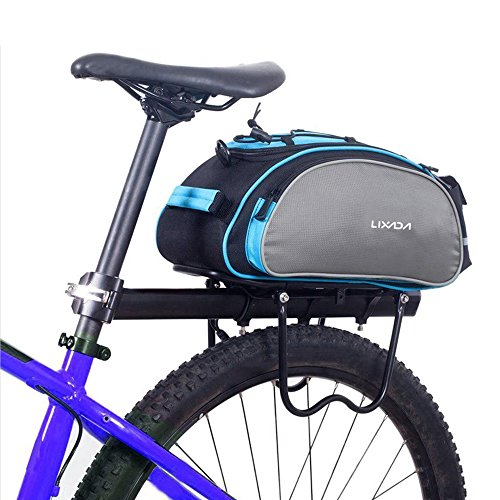 Od-sport 13L Bicycle Rear Rack Bags -Durable Nylon Shoulder Strap Rack Rear Trunk Tote Bag,Bike Panniers With Strong Velcro & Zipper Pockets & Bottle Case,Cycling Accessories for Road,Mountain Bike