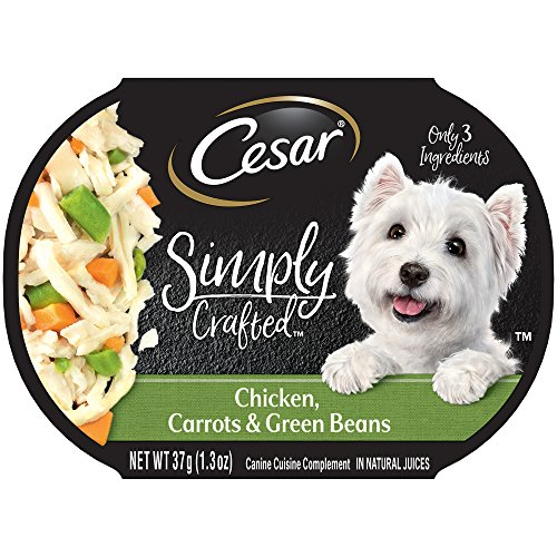 Cesar Simply Crafted Adult Wet Dog Food Cuisine Complement, Chicken, Carrots & Green Beans, (Pack Of 10) 1.3 Oz. Tub