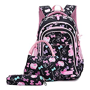 3PCS School Backpack for Girls, Kids Bookbags Set Primary Girls Students (Daypack + Lunch Bag + Pencil Case) (Black)