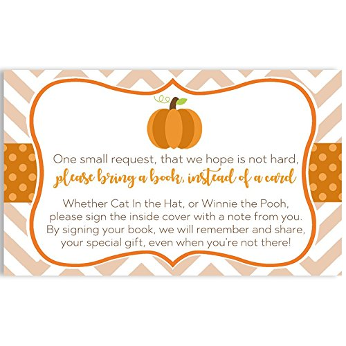Pumpkin Bring A Book Inserts Baby Shower Chevron Little Pumpkin Book Request Cards Baby's First Book Library Collection Keepsake Orange Stripes Polka Dots Gender Neutral Fall Halloween (25 Count)]()