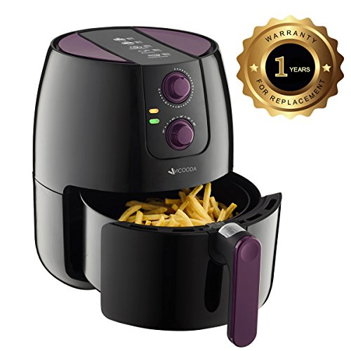 VICOODA Air Fryer 3.7-Quart 1500W, Programmable Electric Fryer with 8 Cook Presets, Oil Free Cooking Non Stick, With Detachable Basket for Cooking, Fry, Roast, Baking, Grill