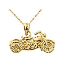 Fine 14k Yellow Gold Motorcycle Charm Pendant Necklace