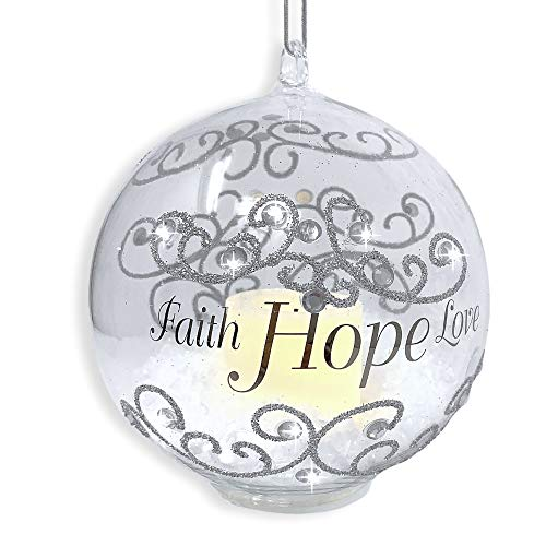BANBERRY DESIGNS Faith Hope Love Light Up Ornament - LED Glass Christmas Ornament with Silver Glitter and - Glass Design Ornament Christmas