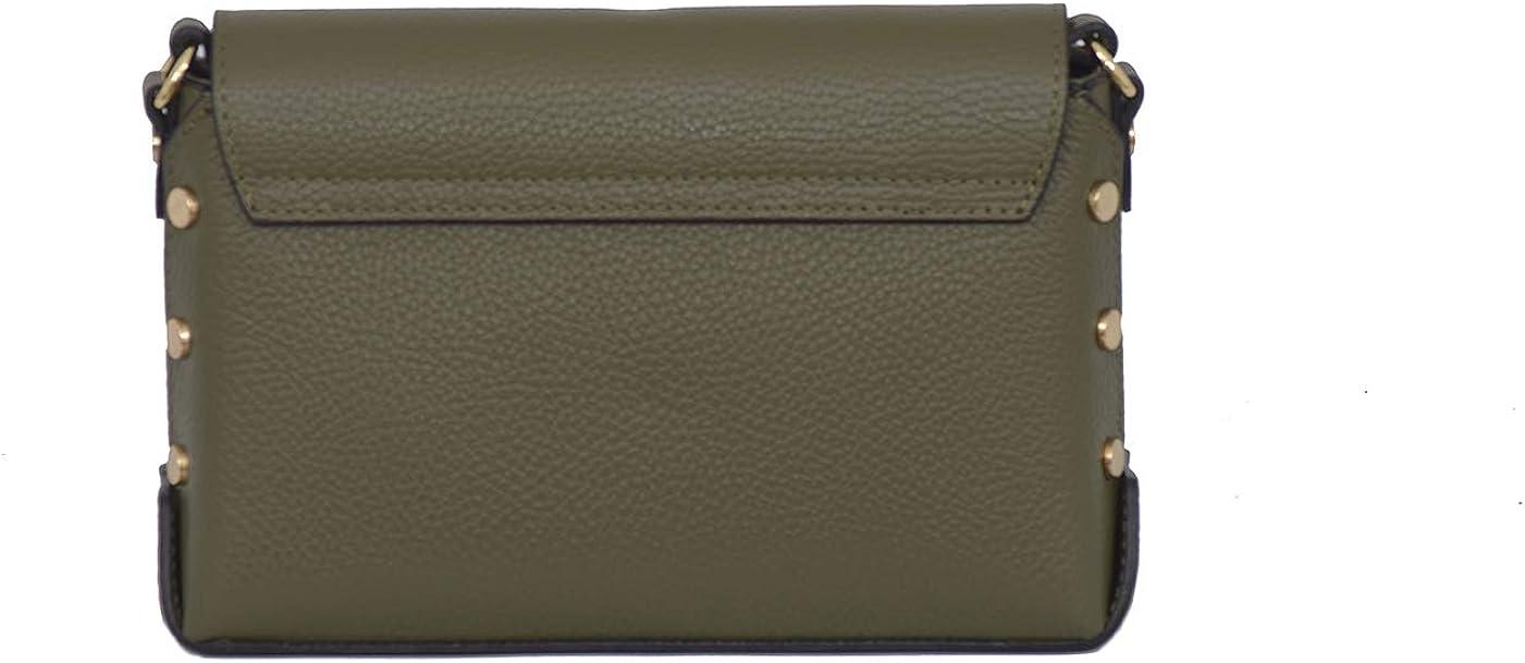 A to Z Leather Umhängetasche mit Nieten aus echtem Leder/Umhängetasche/verstellbarer Schultergurt Olivgrün