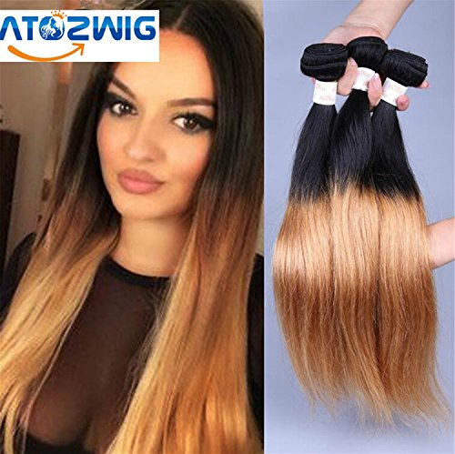 ATOZWIG@7a Peruvian Virgin Hair Straight 3 Bundles Black And Ombre Straight Short Virgin Hair Two Tone Peruvian Human Hair Straight (2 Tone Hair)