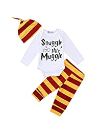 3PCS Top Rompers Pants Leggings Hat For Newborn Baby Boy Striped Outfits Set Clothes