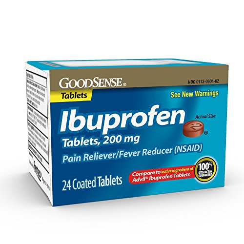GoodSense Ibuprofen Tablets, 200 mg, Pain Reliever and Fever Reducer, 24 Count, Temporarily Relieves Minor Aches and Pains Due to: Headaches, Minor Pain of Arthritis, and the Common Cold