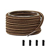 Shoemate Two-Tone Round Heavy Duty Boot Laces for Work Boots & Hiking Shoes with 4 Shoelace Tip Algets, Brown & Tan, 40'(102cm) 15-QianzongKa