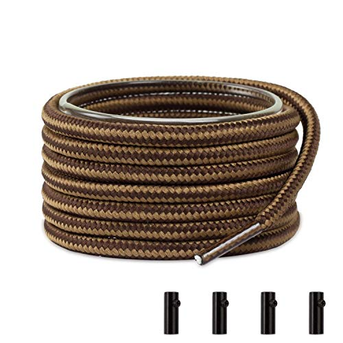 Shoemate Two-Tone Round Heavy Duty Boot Laces for Work Boots & Hiking Shoes with 4 Shoelace Tip Algets, Brown & Tan, 56