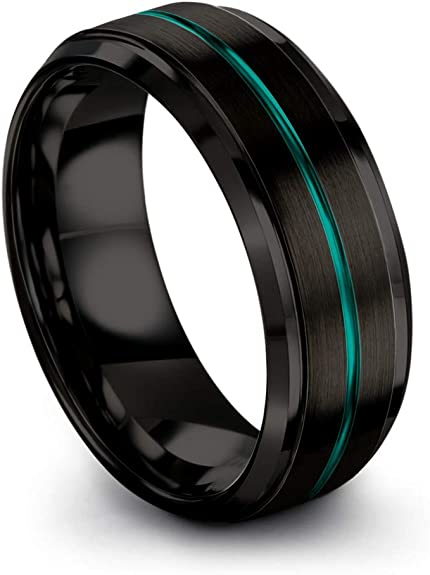 Titanium Jay Seiler Titanium 10mm Black Enamel Stripes Brushed Band Size 11.5