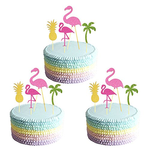 BESTOMZ-12pcs-Hawaii-Cake-Tooper-Flamingo-Pineapple-Coconut-Tree-Cake-Picks-for-Luau-Beach-Party