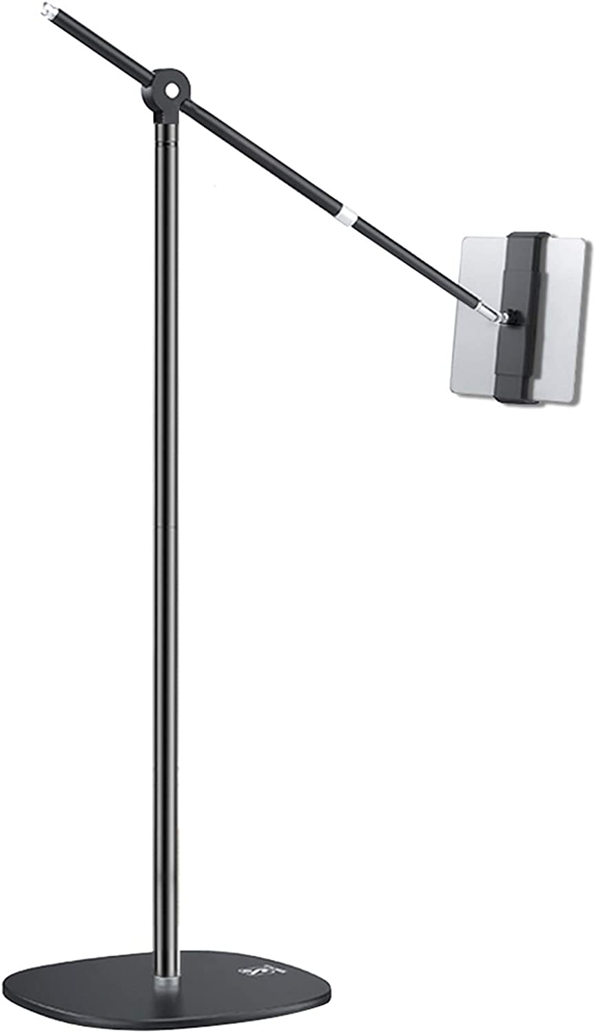 iPad Pro Floor Stand, Height Angle Adjustable Extendable Rod for Standing Sitting Lying Down Use, Universal Holder for 4.7-11 Inches iPhone iPad Pro Air Mini Android Tablets, Weighted Base, 10.4LB