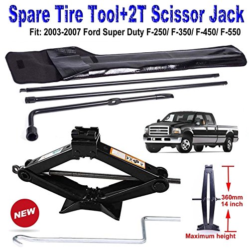 Super Duty Tire (Spare Tire Lug Wrench Tool Kit Scissor Jack for Ford F250 F350 F450 F550 Super Duty (2003 to 2007) 2 Tonne Lift Jacks with Speed Crank Handle)