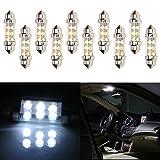 CCIYU 6411 6418 C5W DE3423 6413 DE3425 7456 Festoon 6-SMD 10x 36MM White Festoon LED Bulbs Dome Light Map Light License Plate Cargo Light