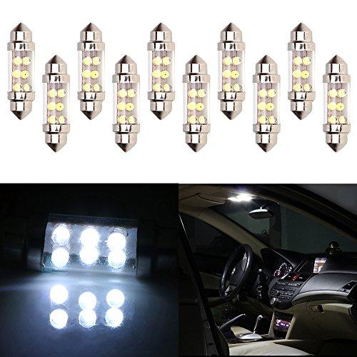 CCIYU 6411 6418 C5W DE3423 6413 DE3425 7456 Festoon 6-SMD 10x 36MM White Festoon LED Bulbs Dome Light Map Light License Plate Cargo Light by CCIYU