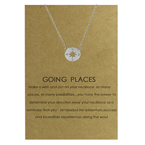 Price comparison product image Chaomingzhen GOING PLACES Compass Pendant Necklace Message Gift Card Quote on Greeting Wish Card for Girl Women Silver