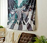 Shukqueen The Beatles Walk On The Road Wall Hanging Tapestry Wall Decor Art for Living Room Bedroom Dorm Decoration 51' H x 60' W