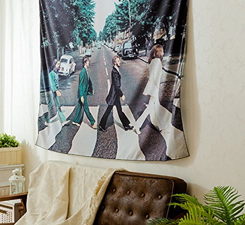 "Shukqueen The Beatles Walk On The Road Wall Hanging Tapestry Wall Decor Art for Living Room Bedroom Dorm Decoration 51"" H x 60"" W"