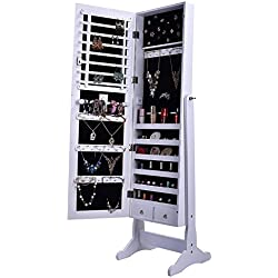 BTEXPERT Stylish Wooden Jewelry Armoire Cabinet Stand Organizer Storage Box Case Cheval Mirror Rings, Necklaces, Bracelets, White