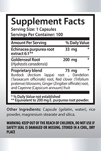 Anti aging - ECHINACEA AND GOLDENSEAL ROOT - Goldenseal detox - 6 Bottles 600 Capsules by PL NUTRITION (Image #1)