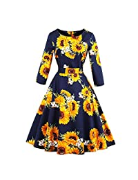 Women Retro Floral Print Three Quarter Sleeves Sunflower Pattern Dress