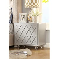 Inspired Home Sienna Modern Glossy Lacquer-Finish Side Table / Accent Table / Nightstand with Trellis Design and Lucite Acrylic Legs, Light Grey