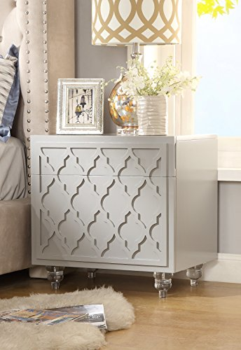 Cheap Inspired Home Sienna Grey Glossy Modern Nightstand – Lucite Acrylic Legs | Lacquer Finish | Side Table | Trellis Design